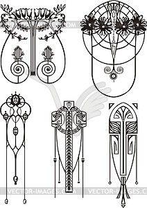 Art nouveau patterns - vector image