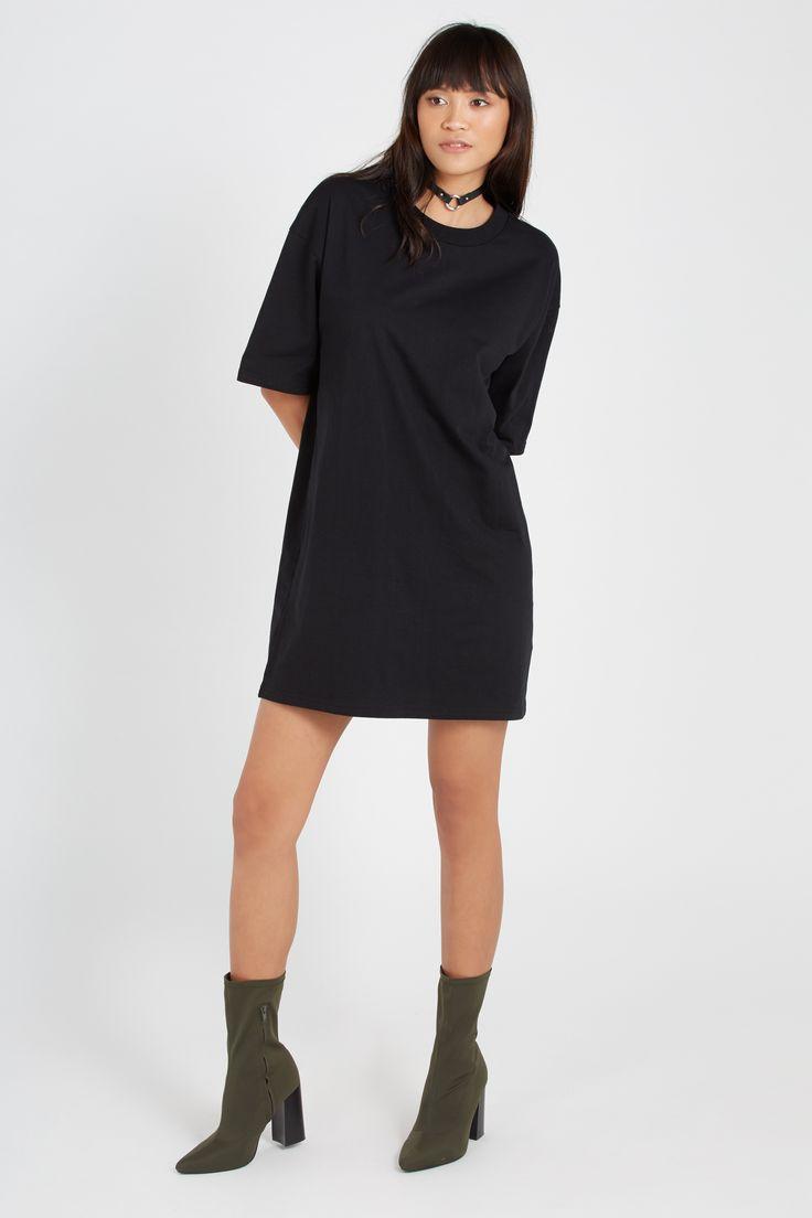 Oversized Tee Dress, BLACK