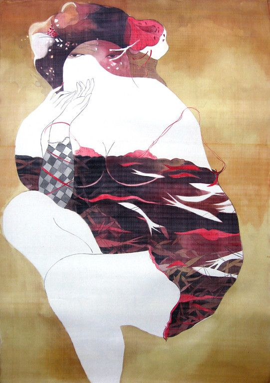 """Bui Tien Tuan's paintings combine the time honored tradition of pen and ink drawing with watercolor on silk but are uniquely modern and sophisticated in terms of subject matter. His assertive, sexy, dynamic women are free from their day to day preoccupations and project a modern aesthetic that includes Asian and western influences. His sensual works capture the dreams and passions of both men and women. """"No one can turn their back on women and their beauty, and I find unlimited sources of…"""