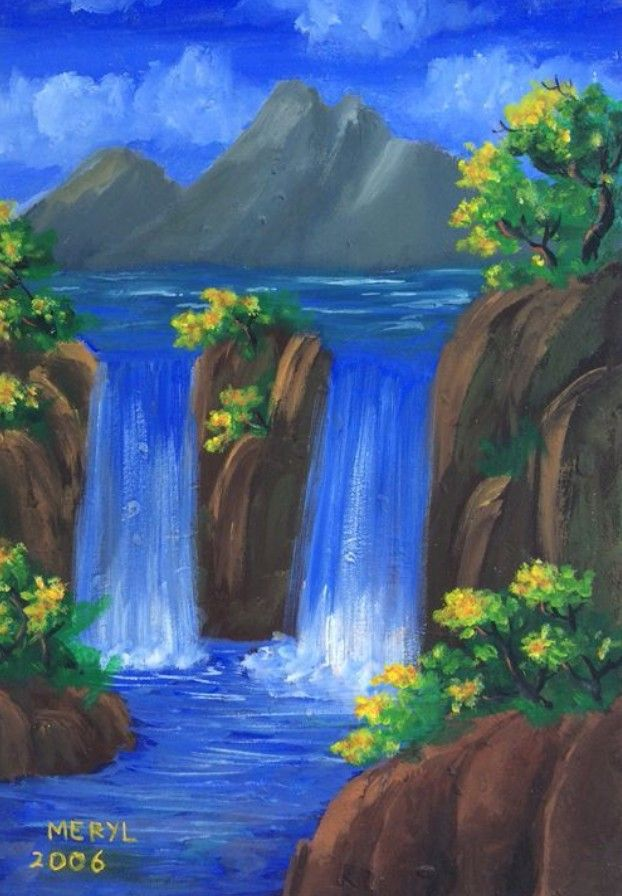 A Beautiful Painting Of A Waterfall With Images Nature