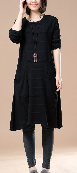 Elegant black knit dresses women sweaters