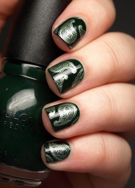 Super-luxe paisley nail art.: Nailart, Paisley Nail Art, Paisley Nails, The Beauty Department, Super Luxe Paisley, Paisley Manicure, Nail Design, Silver Paisley