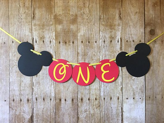 Mickey Mouse High Chair Banner. Mickey Mouse ONE