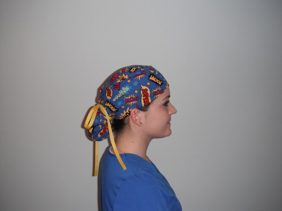 """Ponytail Scrub hat! Amber: """"Your face is on Pinterest!""""  Sister makes the best scrub hats!..and she has the best scrub hat model for her Etsy store!"""