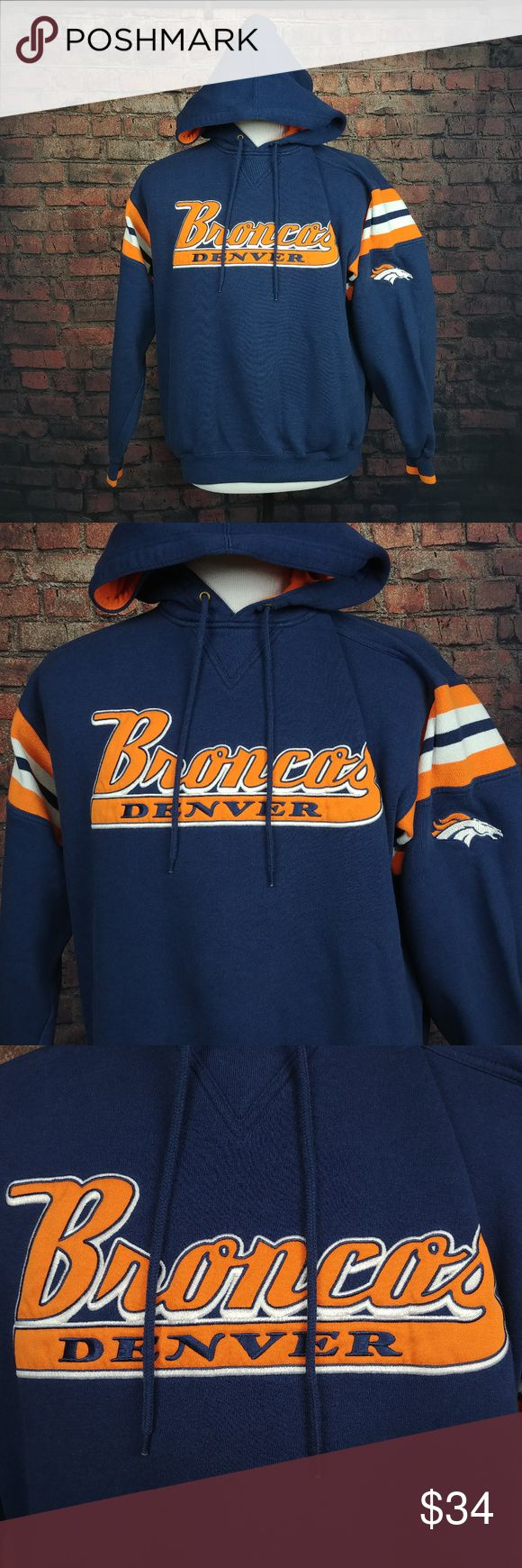 """VINTAGE Lee Sport Denver Broncos Hoodie Mens M VINTAGE Lee Sport Denver Broncos Hoodie Mens Medium Blue Orange Pullover Adult C18:02:W11-18:30:P:M:0  Good Condition! (See Photos).  Item Dimensions (Approximately):      25"""" - Pit to Pit     26"""" - Item Length (Front Side Neckline to Bottom)  Questions? Please ask, I try to respond immediately!   I ship daily to get you your item ASAP!   Just a common guy bringing you great deals, superb customer service is my goal.  -Cooper @ CoopsThrifts…"""