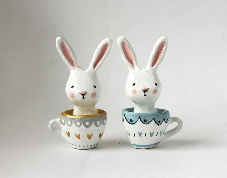 Miniature bunny in a teacup - Paper clay tiny sculpture - ooak. £32.00, via…