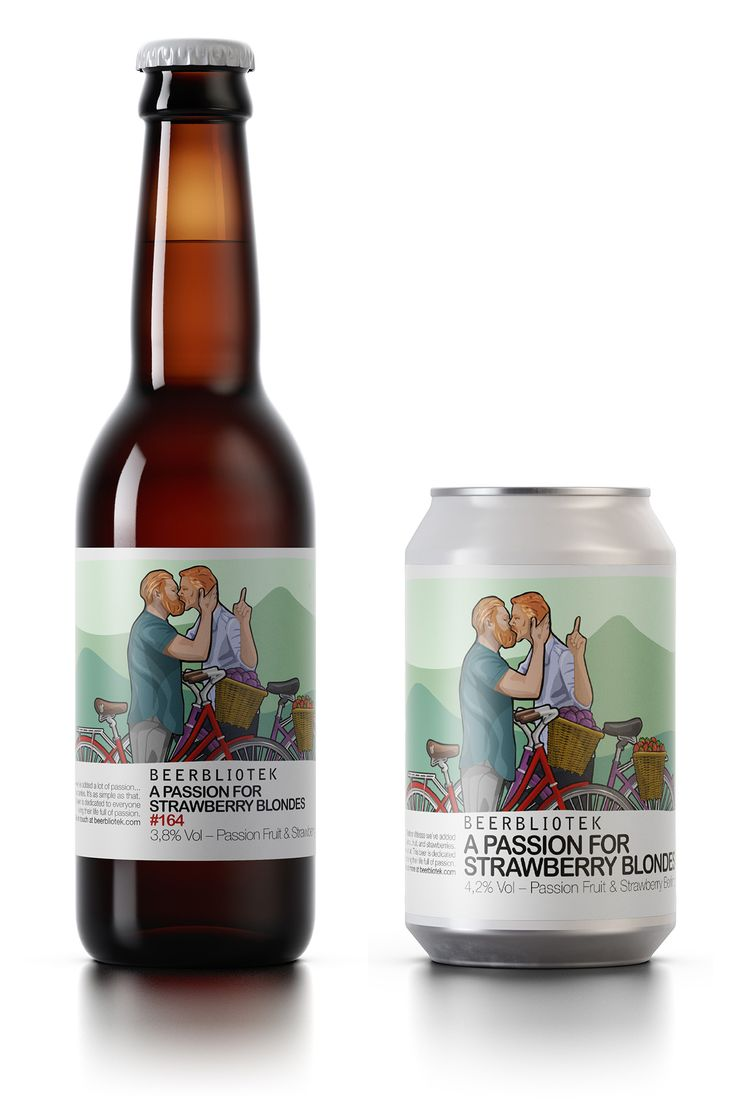 """A bottle and can of """"A Passion for Strawberry Blondes"""". A Berliner Weisse with Passion Fruit and Strawberries."""