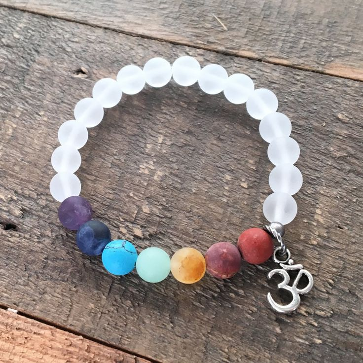 Matte Gemstone Chakra Bracelet with Crystal Quartz and Om charm