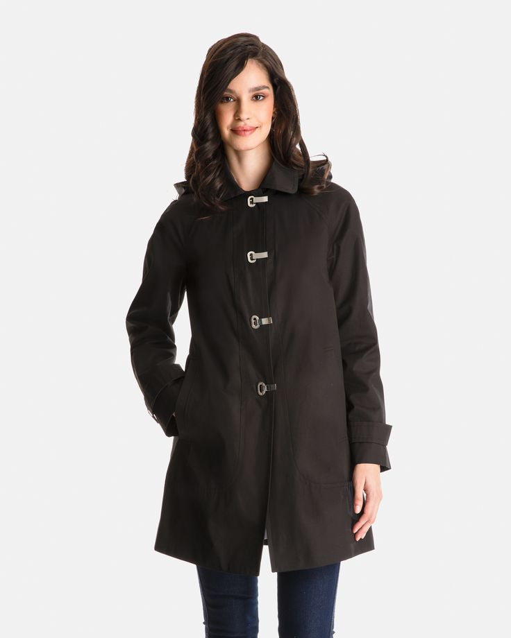 Kennedy Lightweight Clip Closure Raincoat with Detachable Hood