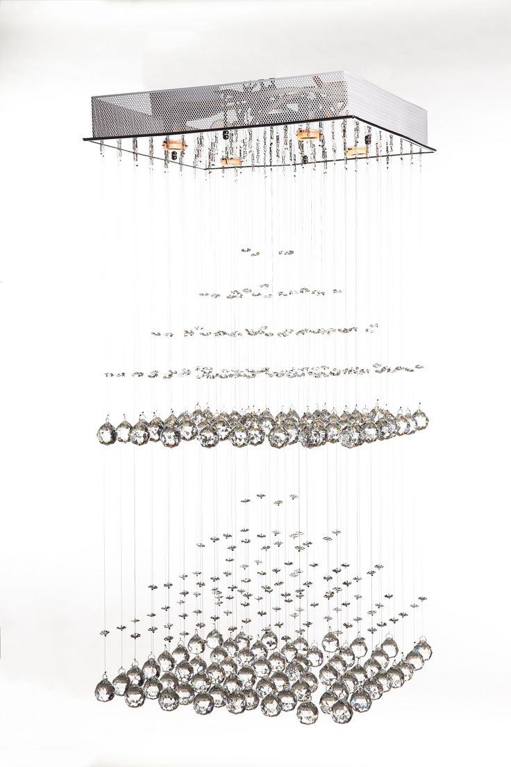 The Pyramid Crystal Chandelier   Contemporary Suspension Light With  Hundreds Of Hand Cut Crystal Balls That