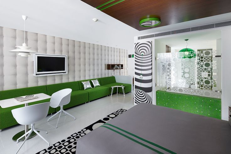 Green studio. Luna2 studiotel, Bali. Interior design by Melanie Hall