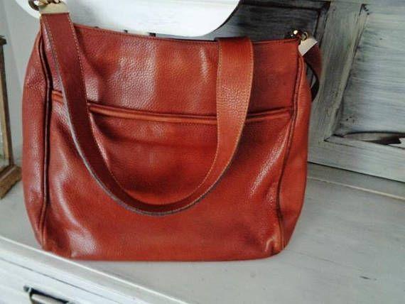 Grand Sac A Main Cuir Vintage Francesco Biasia Sac Cuir Marron Roux French Leather Handbag Italian Bags Leather Bags