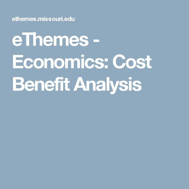 Ethemes  Economics Cost Benefit Analysis  EconGovt