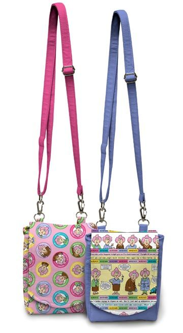 Zip & Clip Bag in Aunty Acid Fabric from Northcott