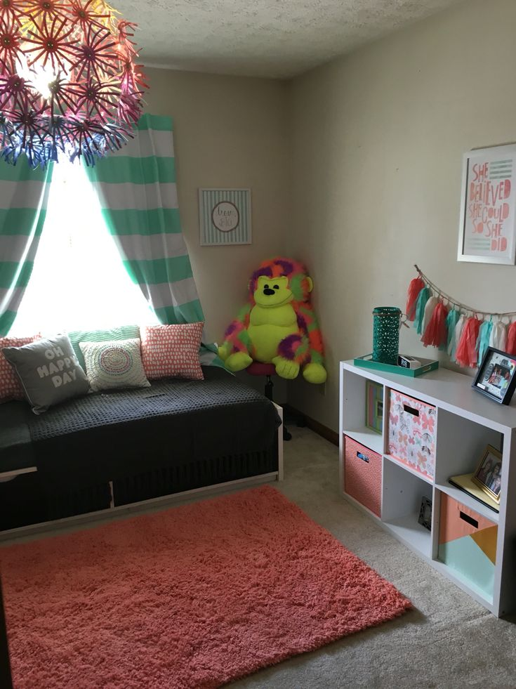 Mint green and coral with hint of gold. Girls bedroom ...