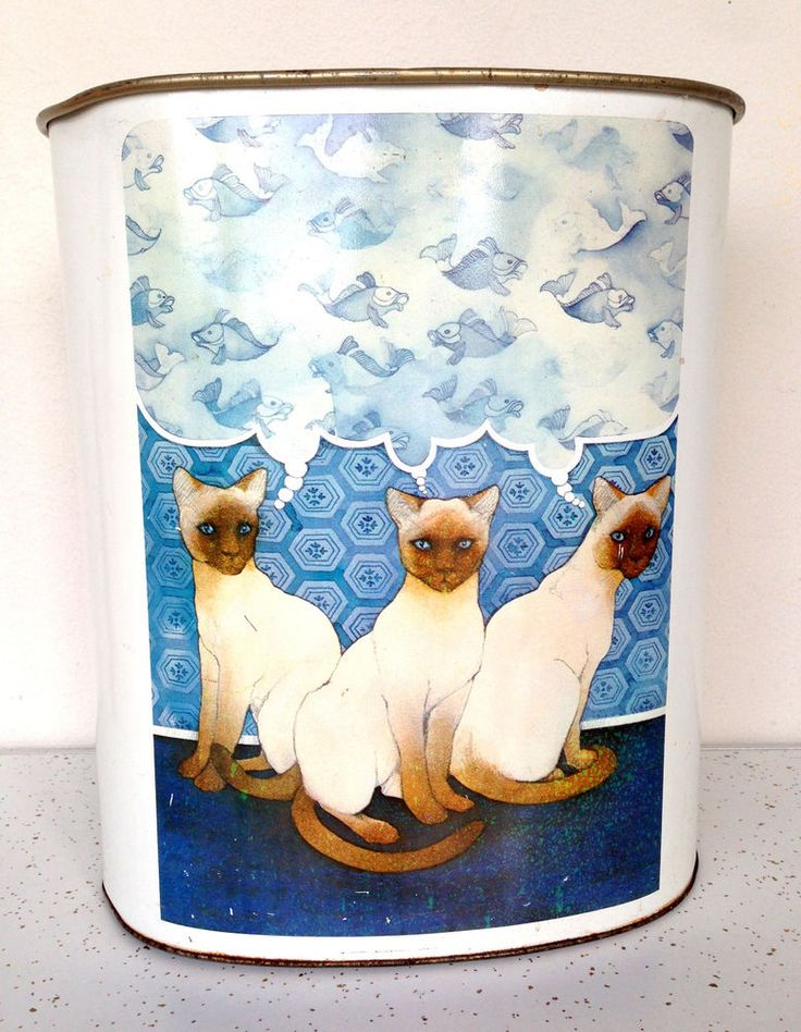 Vintage Mid Century Waste Basket Can Metal w/ Cats Fish #Vintage #Wastebasket #Fish #Cat #Midcentury #Thriftytrendzbyjuls