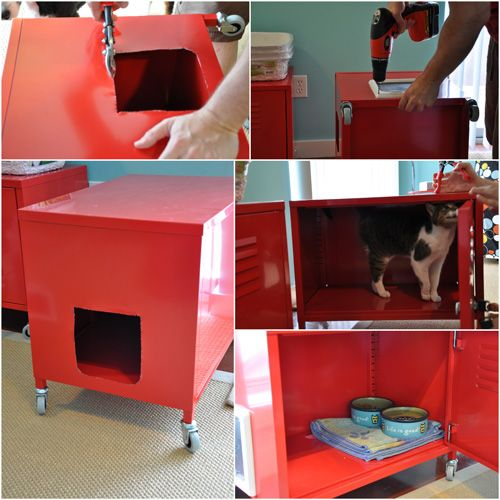 MoCrafty: IKEA Hack Cat Cabinets | Kitty Litter Cabinet