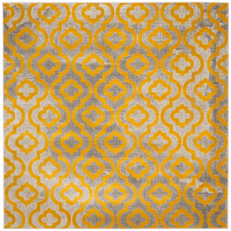 Porcello Light Grey/Yellow 6 ft. 7 in. x 6 ft. 7 in. Square Area Rug