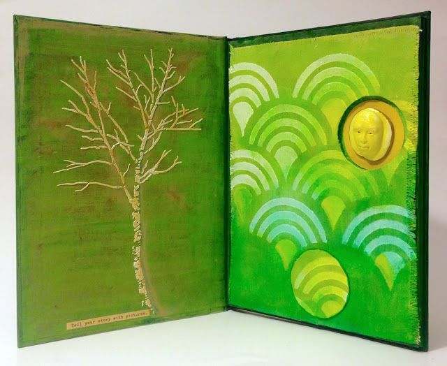 """""""Winter Summer"""" altered book by Lisa Fulmer - featured in """"Around the World with 80 Artists"""" ebook #80artists"""