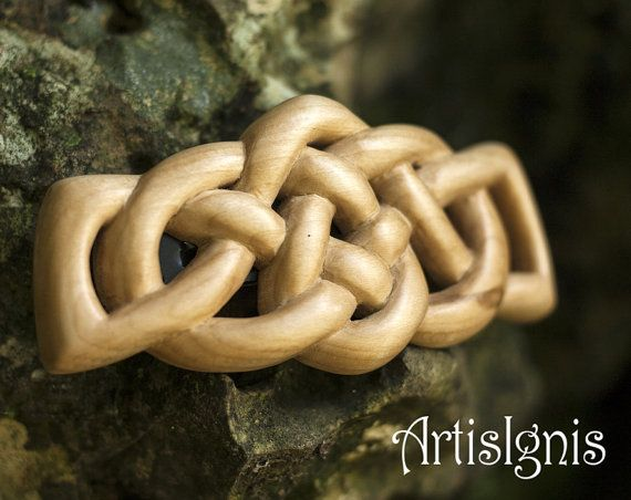 Celtic Knot Hair Barrette in Linden Wood, Handcarved French Barrette, Handmade Wood Barrette, Hand carved - RESERVED for M AITKEN