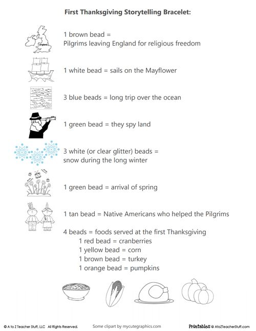First Thanksgiving Storytelling Bracelet Printable | A to Z Teacher Stuff Printable Pages and Worksheets