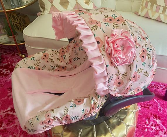 Baby Pink Car Seat Covers, Pink Floral Infant Car Seat Covers, Pink Infant Seat Covers, Car Seat Covers for Girls, Baby Pink CarSeat Covers