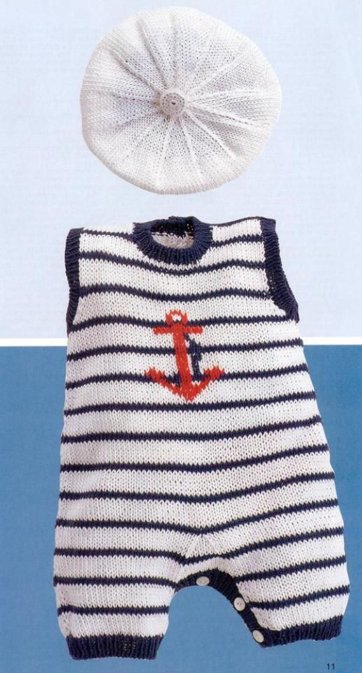 KNITTED SET FOR A BABY BOY SAILOR.