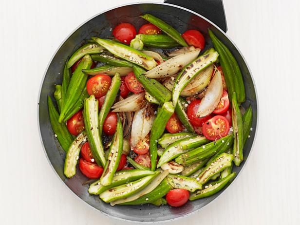 Okra with Tomatoes and Onion - SO good! I chopped the okra and used lemon pepper seasoning instead of salt and pepper. Possibly my new favorite okra recipe.
