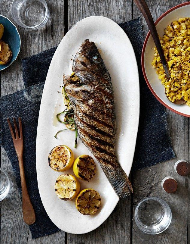 Dave Pasternack's Recipe for Whole Black Sea Bass With Lemon-Coriander Corn