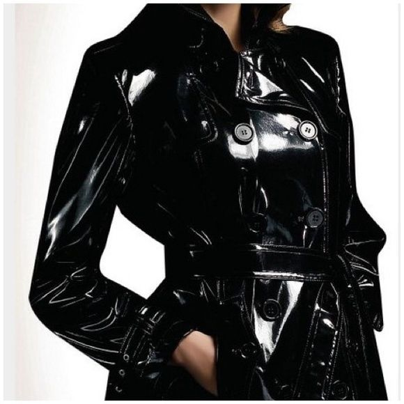 SALE CALVIN  KLEIN FAUX  PATENT TRENCH S NWT CALVIN KLEIN BLACK  FAUX SHINY PATENT LEATHER TRENCH  BY WILSONS S NWT Calvin Klein Jackets & Coats Trench Coats