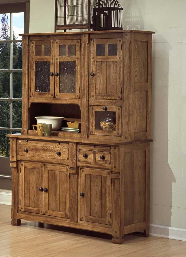 Sedona Rustic Oak Hutch And Buffet By Sunny Designs   Wolf Furniture    China Cabinet Pennsylvania