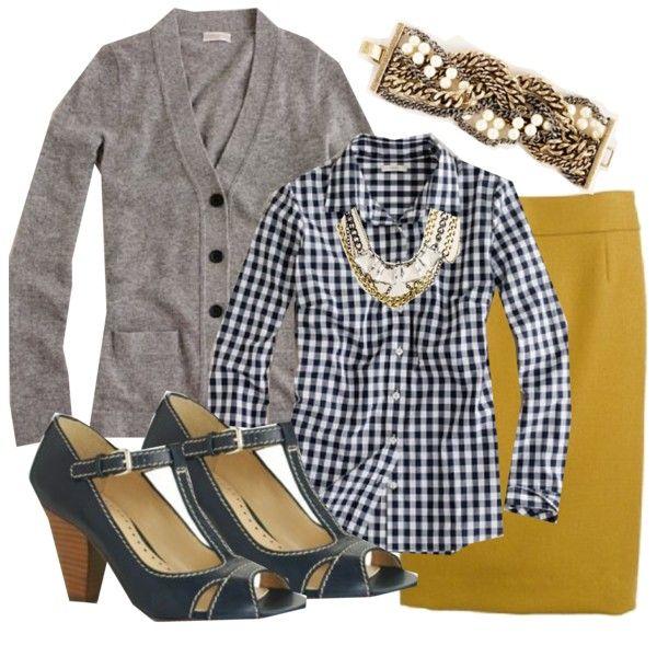 j. crew ochre pencil skirt, grey long cardigan, blue gingham perfect shirt, navy heels