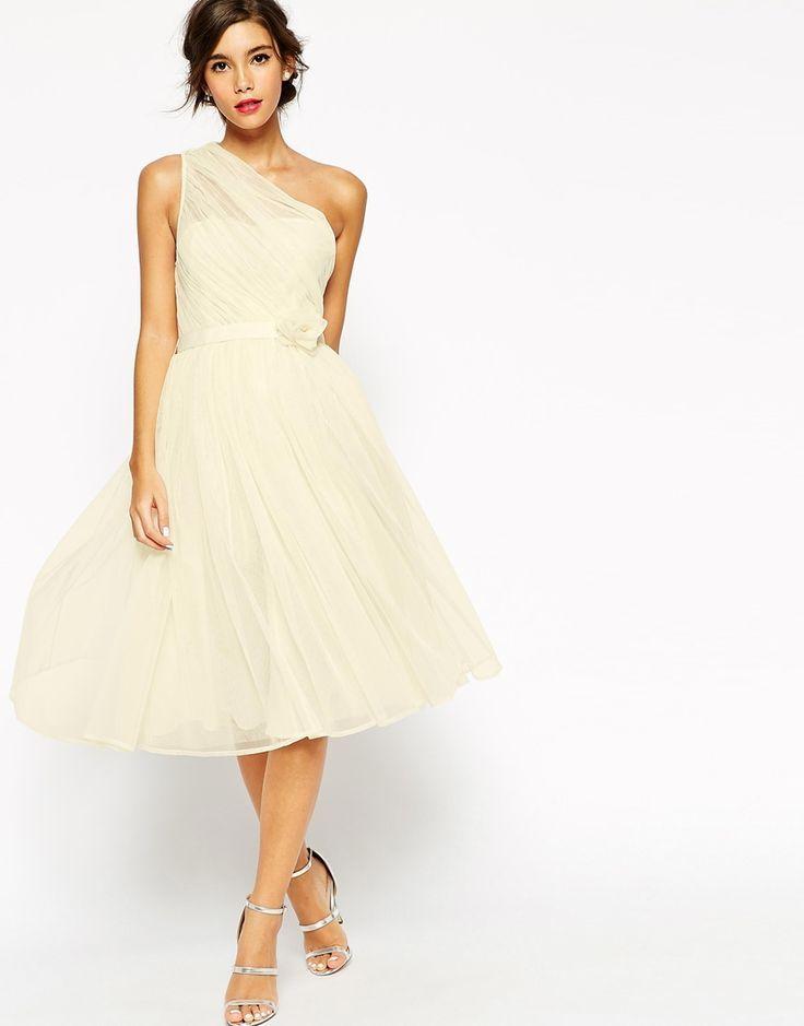 Bild 1 von ASOS WEDDING – One Shoulder-Corsagenkleid aus Netzstoff