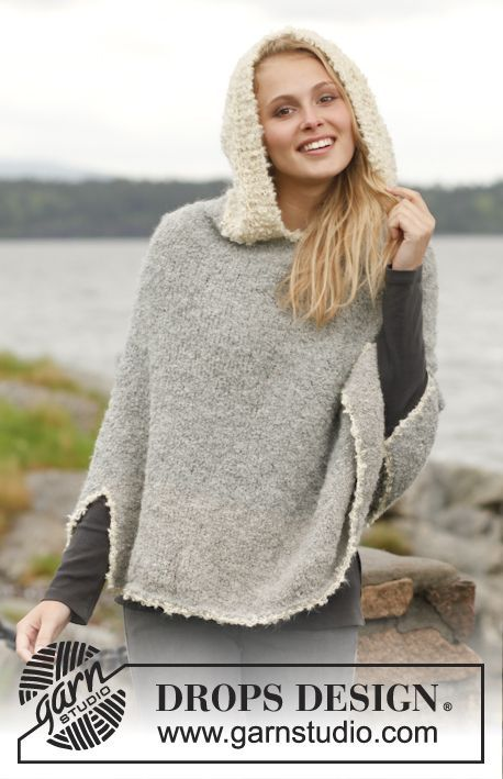 """Knitted DROPS poncho with hood in """"Alpaca Bouclé"""". ~ DROPS Design free pattern"""