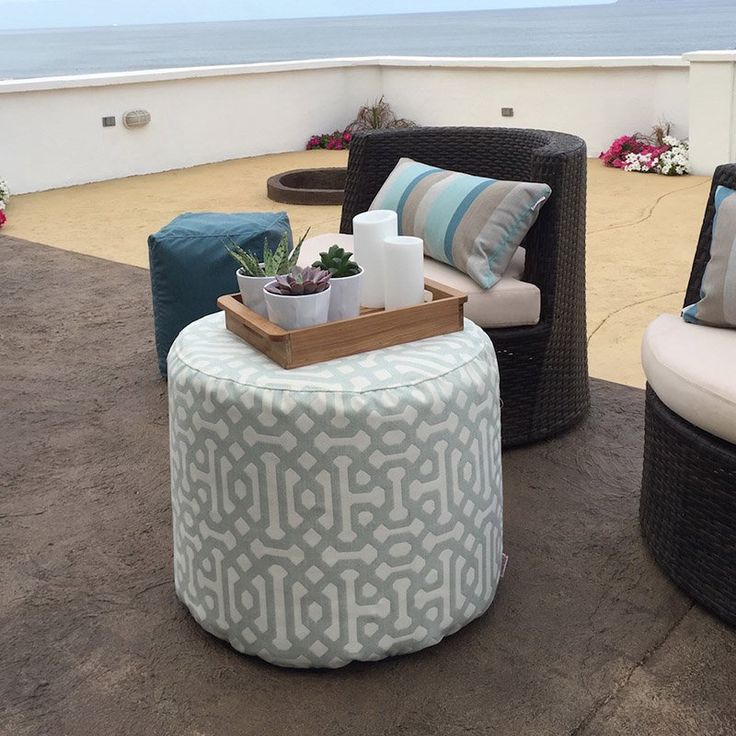living room poufs%0A Round Sunbrella Pouf   from hayneedle com