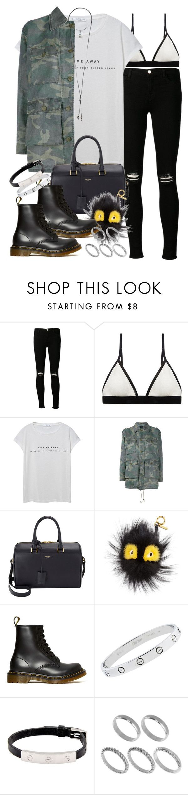 """""""Sin título #3971"""" by hellomissapple ❤ liked on Polyvore featuring J Brand, Sloane & Tate, MANGO, Yves Saint Laurent, Fendi, Dr. Martens, Cartier, ASOS and Natalie B"""