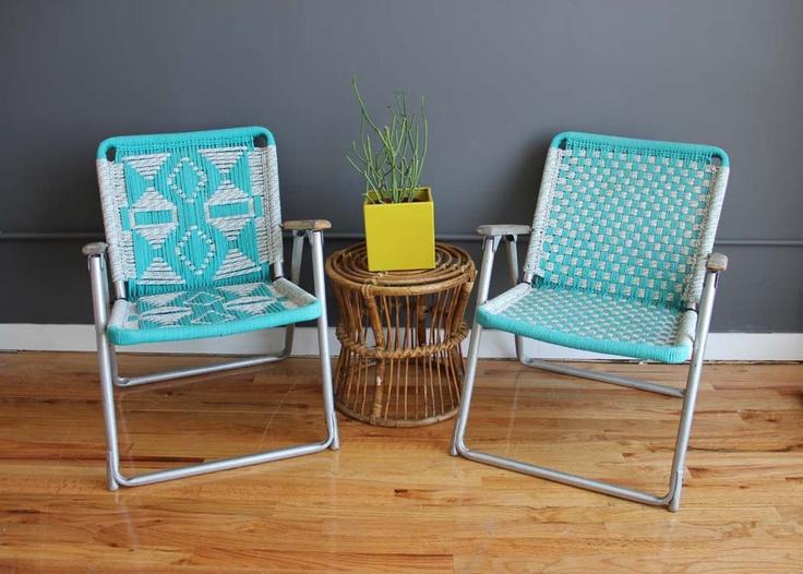 Amazing Pair Of Matching Macrame Chairs Macrame Macrame