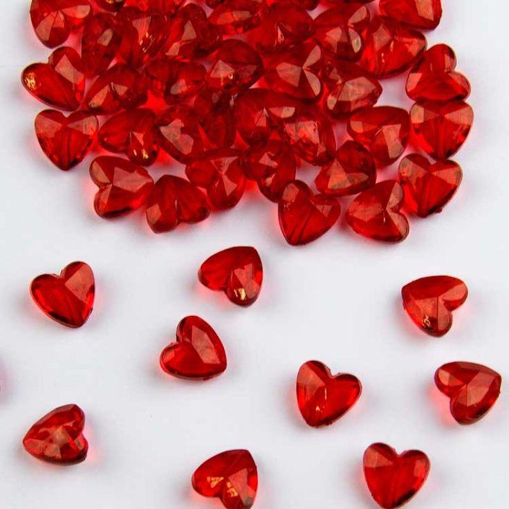 Tafeldecoratie Diamanten Rode Hartjes 12mm.