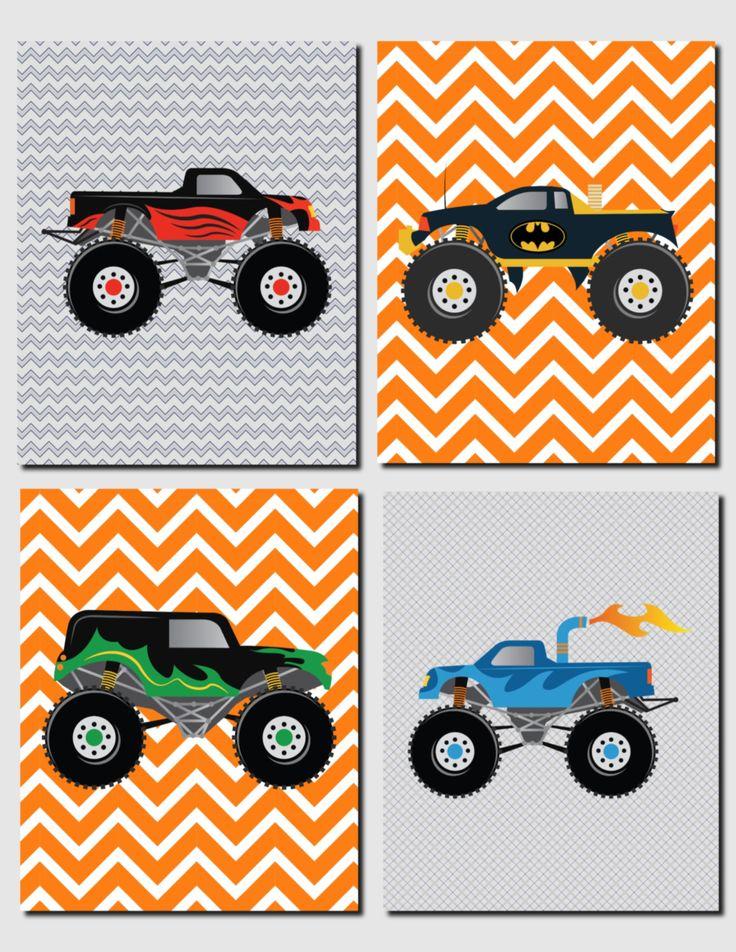 Trucks Wall Art Nursery Art Kids Wall Art Toddler Boys Room Decor Monster Trucks Gray Orange Blue Red Big Trucks Set of 4 Prints by vtdesigns on Etsy