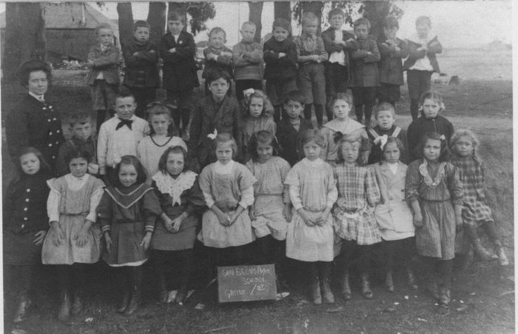 Group portrait of first grade class of San Bruno Park School. Photograph taken across from the Town Hall on San Mateo Avenue. San Bruno Park School opened on February 22, 1907 and was closed after construction of the Edgemont Grammar School in 1910. The San Bruno Park School building was remodeled and served as San Bruno City Hall until 1954.
