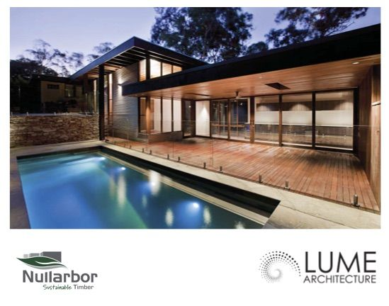 Nullarbor's mixed timber supply : Lume Architecture ​Spotted Gum decking and posts Recycled Blackbutt lining. CLASS.