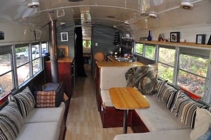 Meet Eliza Brownhome: a 1974 Bluebird school bus that houses a family of five | Offbeat Home      OMG i'm in love with this!!!!! i wonder how much a double decker would sell for in the uk to become my home!!