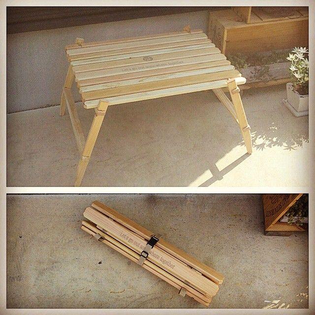 テーブル完成~(^^)450×600の大きさなので小さめです◎ * #自作 #木工 #テーブル #キャンプ #アウトドア #DIY
