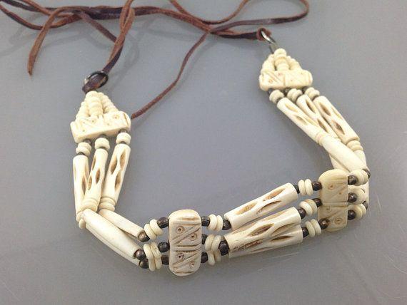 Vintage Native American Bone choker. Tribal Necklace ...