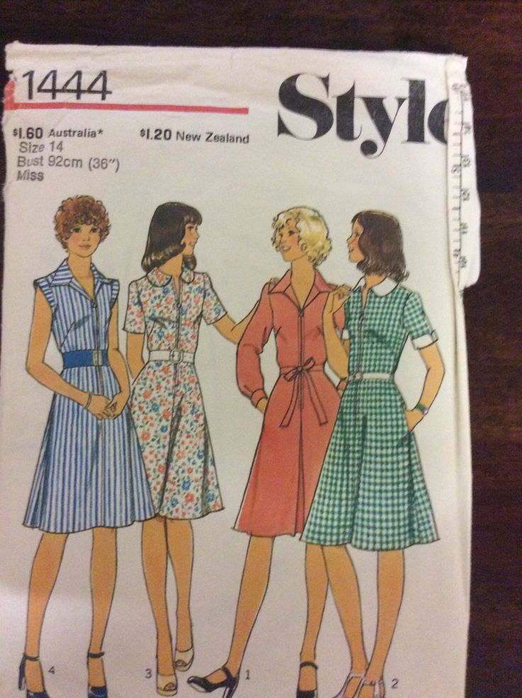 Style 1444, Teens and misses dress, Sz 14 (36), 1976