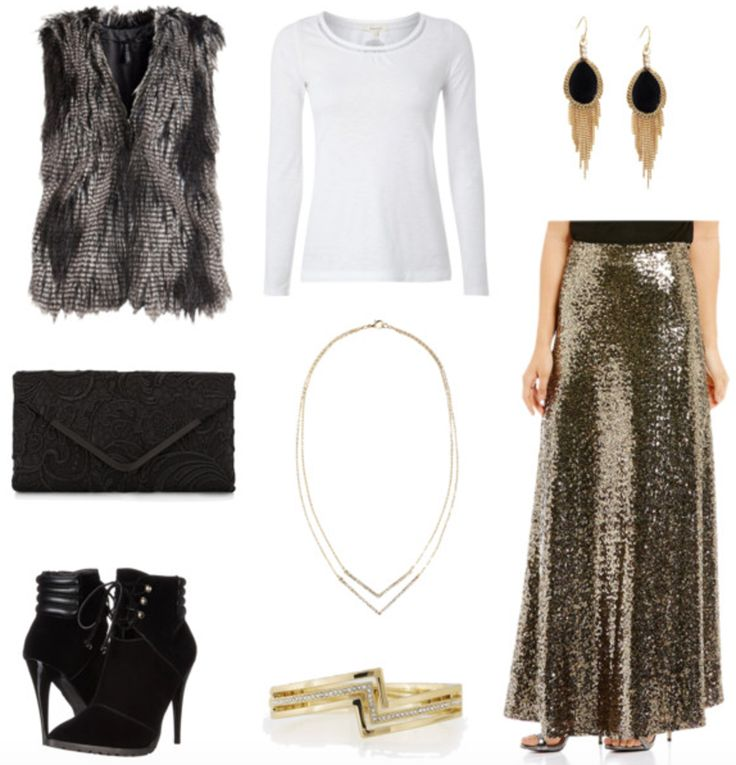 Class to Night Out: Sequin Maxi Skirt. Tis the season for glitter and glam, worn both during the day and out at night.