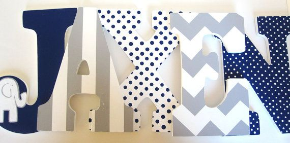 Navy Blue Elephant and Grey Chevron Letters by MurrayDesignShop