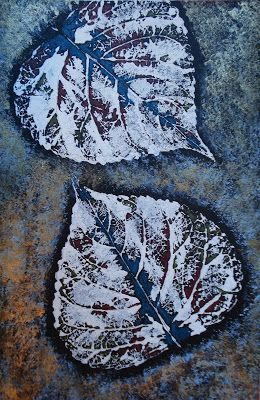 a faithful attempt: Leaf Prints with Sponged Background Colored pencil accents
