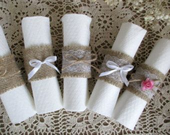 Burlap Napkin Rings Rustic Wedding Napkin Holder by MagicalStart