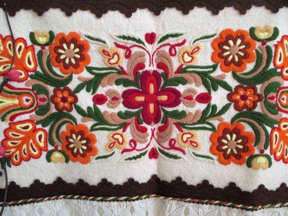 On Sale 164.Vintage hand embroided felt picturehandmade felt